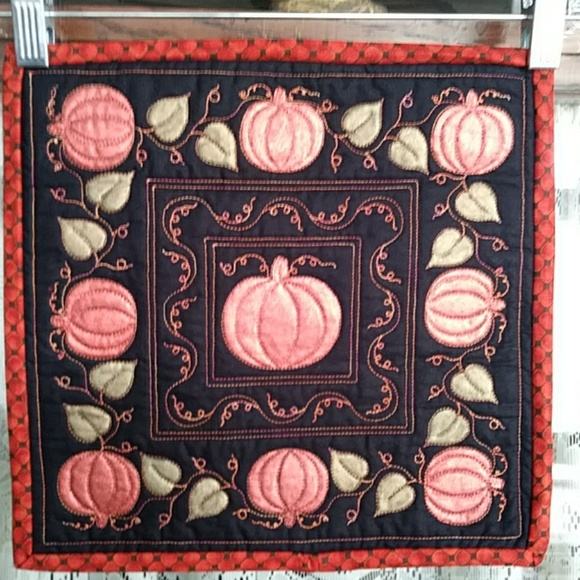 Pumpkin Wall Hanging Quilted Hand Painted